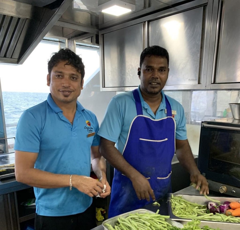 Kelum and Rokib in the kitchen of the Carpe Novo Maldives