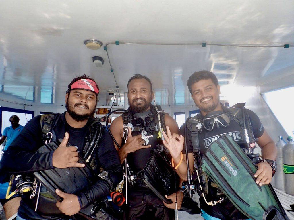Huseein, Cooky and Yaan dive team Carpe Novo Maldives