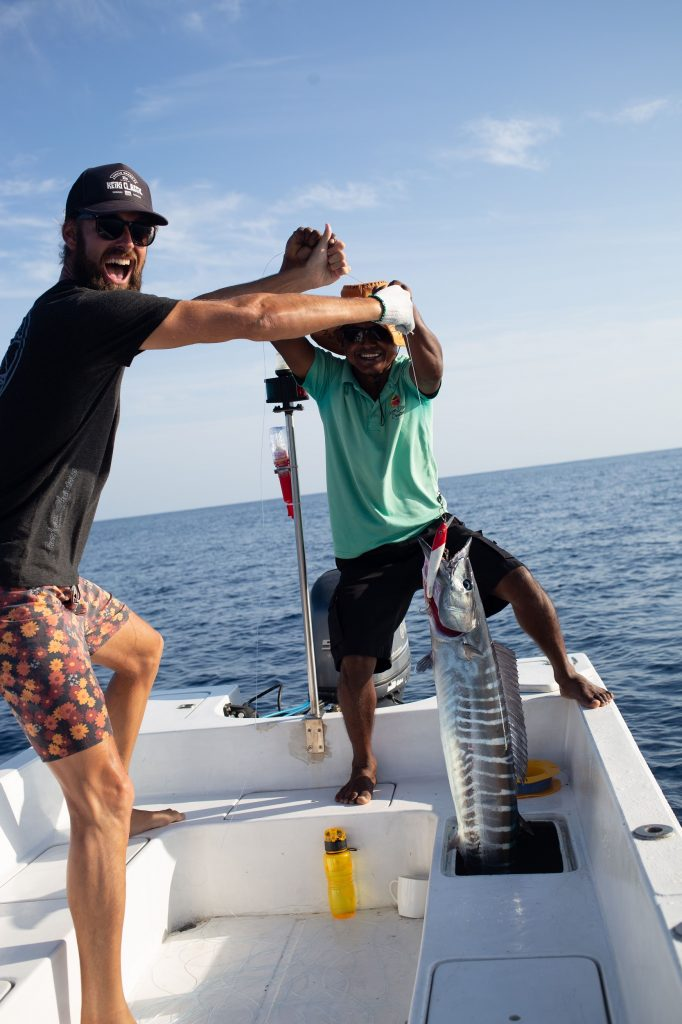 Fishing off the dingy in the Maldives